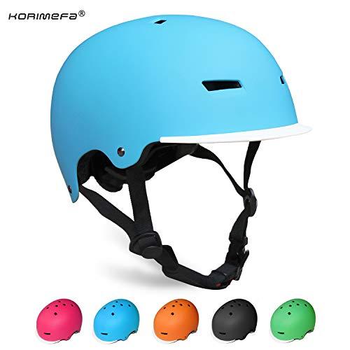 KORIMEFA Kinder Skateboard Helm Kind Fahrrad Schutzhelm 3-13 Jahre alt Jungen und Mädchen Kinder Verstellbarer Helm BMX Reiten Roller Inline Skating (Blau, M)
