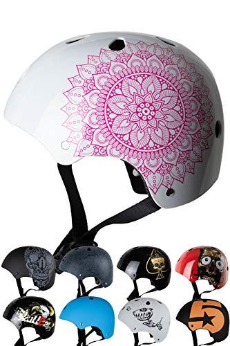 Skullcap® BMX Helm – Skaterhelm – Fahrradhelm – Herren Damen Jungs & Kinderhelm, weiß-rosa, Gr. S (53 – 55 cm), Mandala