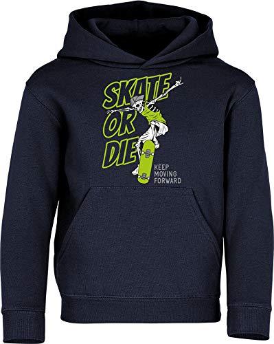 Kinder Pullover: Skate or Die – Hoodie Kapuzenpullover Pulli Skateboard Skaten Skater Skaters Board SK8 – Geschenk Kleidung Junge Jungen Mädchen Kind Sport (Navy 152)