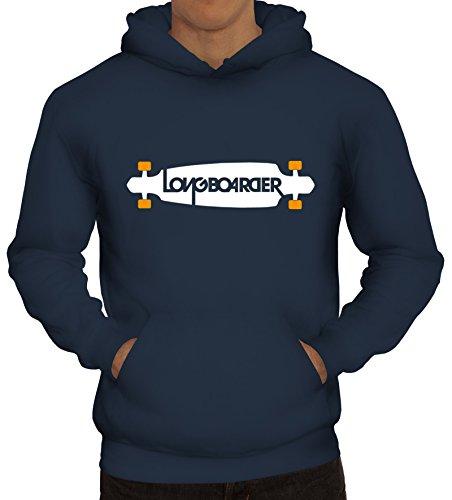 Shirtstreet24, Longboarder, Skateboard Herren Kapuzen Sweatshirt – Pullover Hoodie, Größe: S,Navy