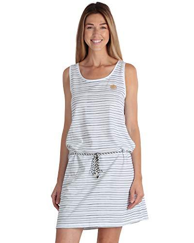 LongBoard Damen Kleid ohne Ärmel gestreift Marin Weiß Gr. Large, weiß