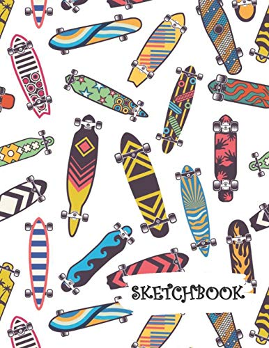Sketchbook: Crazy Design Skateboard Fun Framed Drawing Paper Notebook