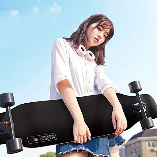 LHDQ Drop Through Skateboard, 43-Zoll Freestyle Dancing Longboard Cruiser 8-lagiger Ahorn und Glatte PU-Rollen für Kinder/Jungen/Mädchen/Jugendliche/Erwachsene