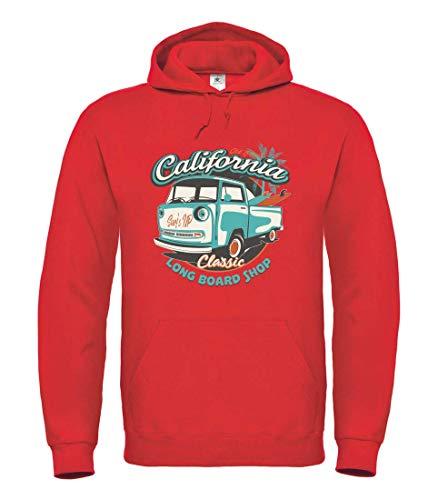 Druckerlebnis24 Hoodie – Kalifornien Auto Longboard Skater – Kapuzenpullover Unisex für Kinder – Junge und Mädchen