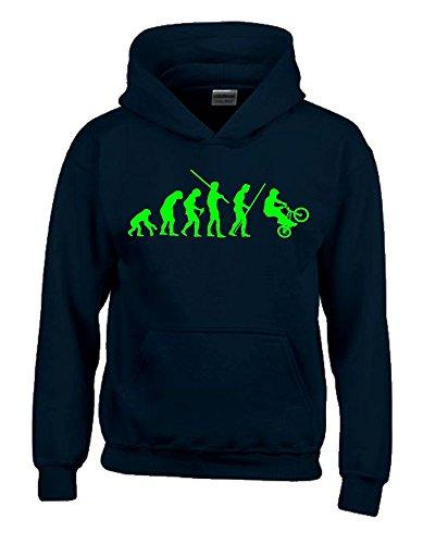 Coole-Fun-T-Shirts BMX Evolution Kinder Sweatshirt mit Kapuze Hoodie schwarz-Green, Gr.152cm